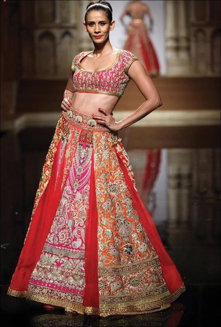 Ghagra Choli For Wedding - Pink And Red