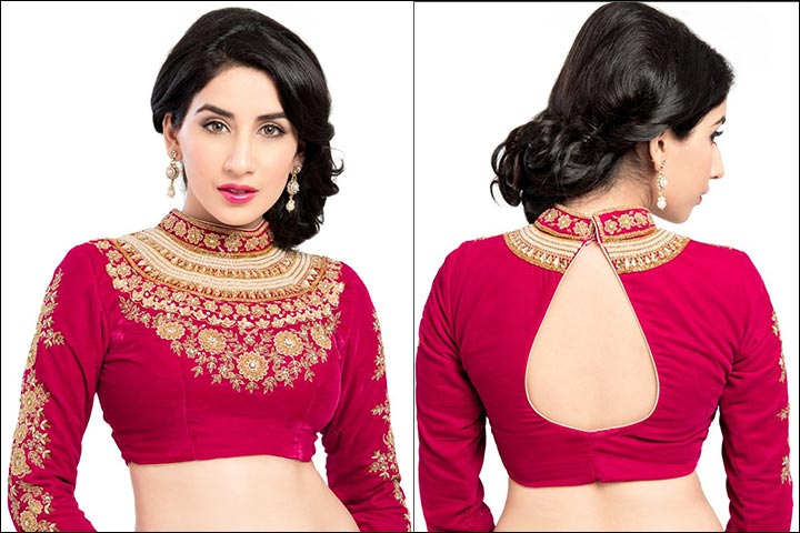 Pink Heavy Neck Work Maggam Blouse Design With Designer Cutting Back Neck