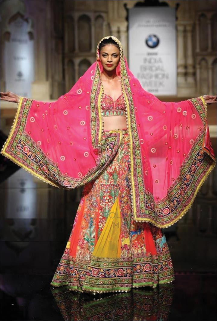 Ghagra Choli For Wedding - Pink Leads This Riot Of Colours