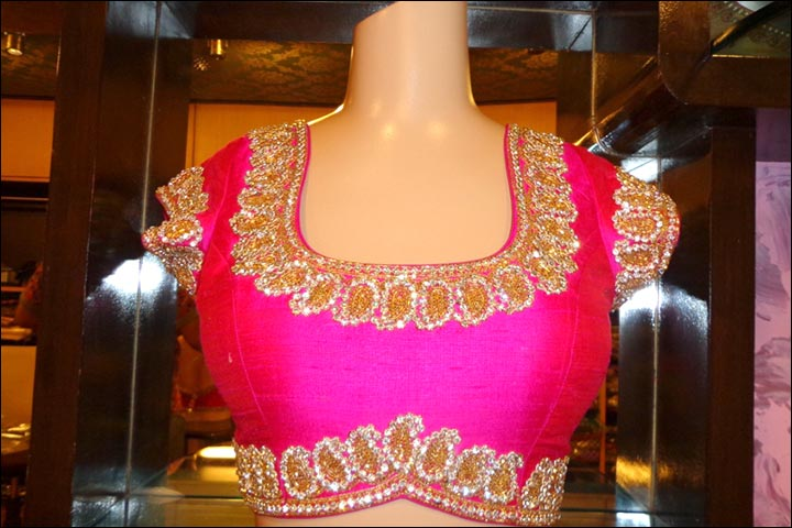 Maggam Work Blouse Designs - Pink Maggam Blouse Design With Simple Border Embroidery