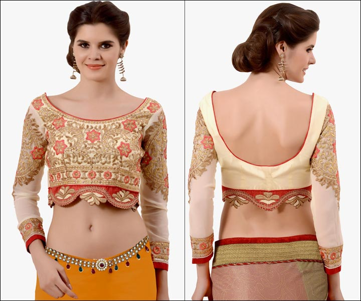 Boat Neck Blouse Designs - Red And Cream Art Silk, Boat Neck, Long Sleeves, U Back Pattern Embroidered Cutting Blouse With Zari Work