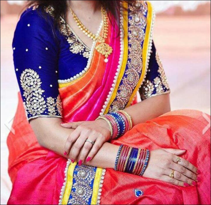 Maggam Work Blouse Designs - Royal Blue Maggam Blouse Design With Medium Gold Thread Embroidered Sleeves And Neck Pattern