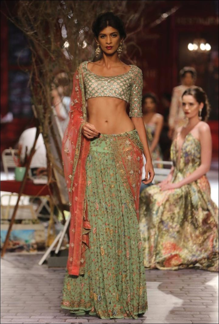 Ghagra Choli For Wedding - Sexy Green And Pretty Pink