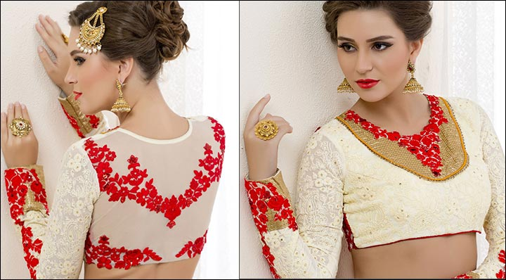 foto Blouse back neck designs with stone work
