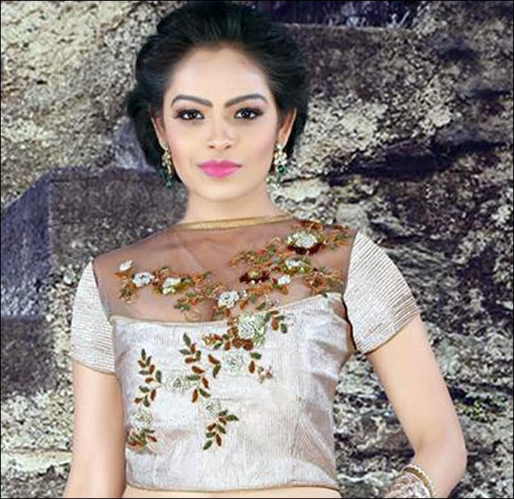 Maggam Work Blouse Designs - Transparent Beige And Brown Light Maggam Work Blouse With Net