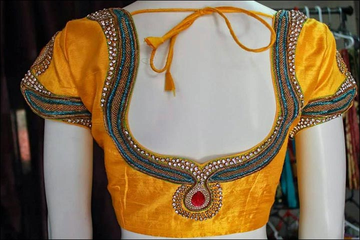 Maggam Work Blouse Designs - Turmeric Yellow Simple Maggam Blouse With Sequins & Royal Cutting Back Neck Design