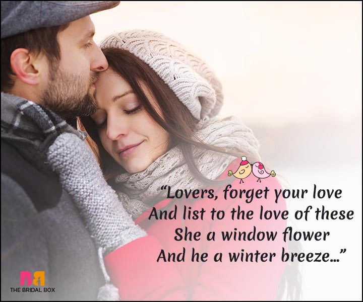 Winter Love Quotes - A Window Flower And A Winter Breeze