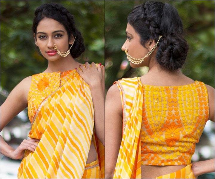 Boat Neck Blouse Designs - Yellow Sleeveless Boat Neck Blouse With Embroidery, Heart Thread Work And Net
