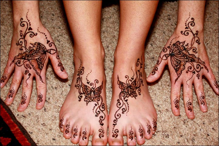 Butterfly Mehndi Designs - Bridal Mehndi Butterfly Theme