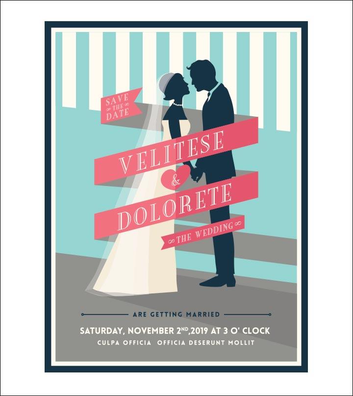 Wedding Invitation Background - Embracing Couple