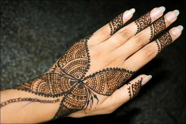 Butterfly Mehndi Designs - Full Coverage Back Hand Butterfly Design