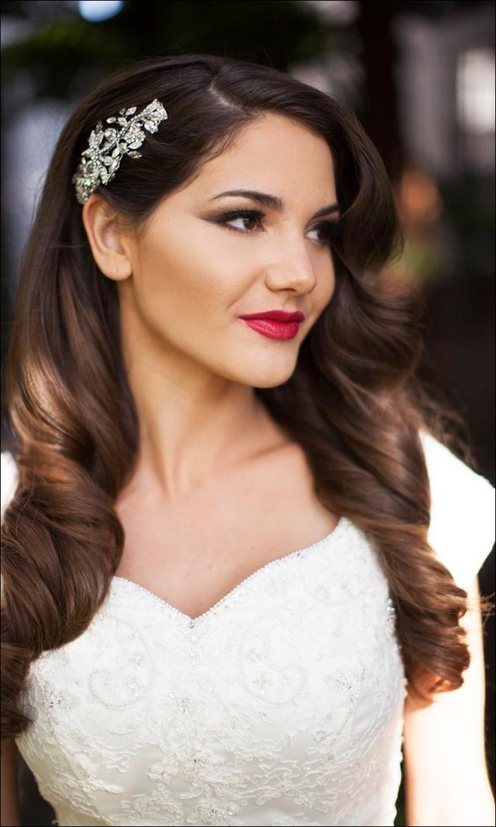 Bridal Hairstyles For Medium Hair - Loose Hair With Clip