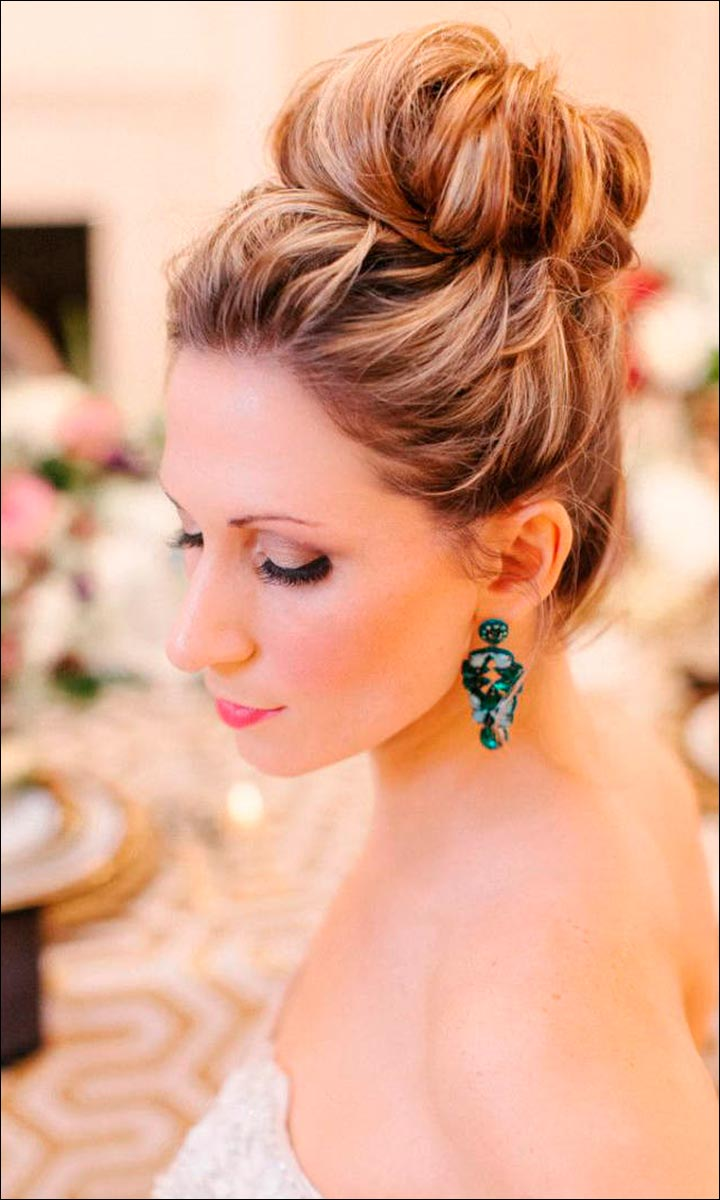 Bridal Hairstyles For Medium Hair - Loose High Bun