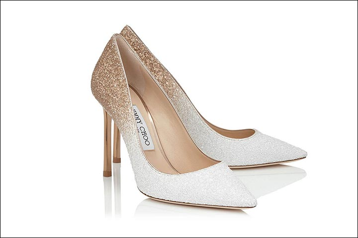 Colourful Bridal Shoes - White & Gold By Jimmy Choo