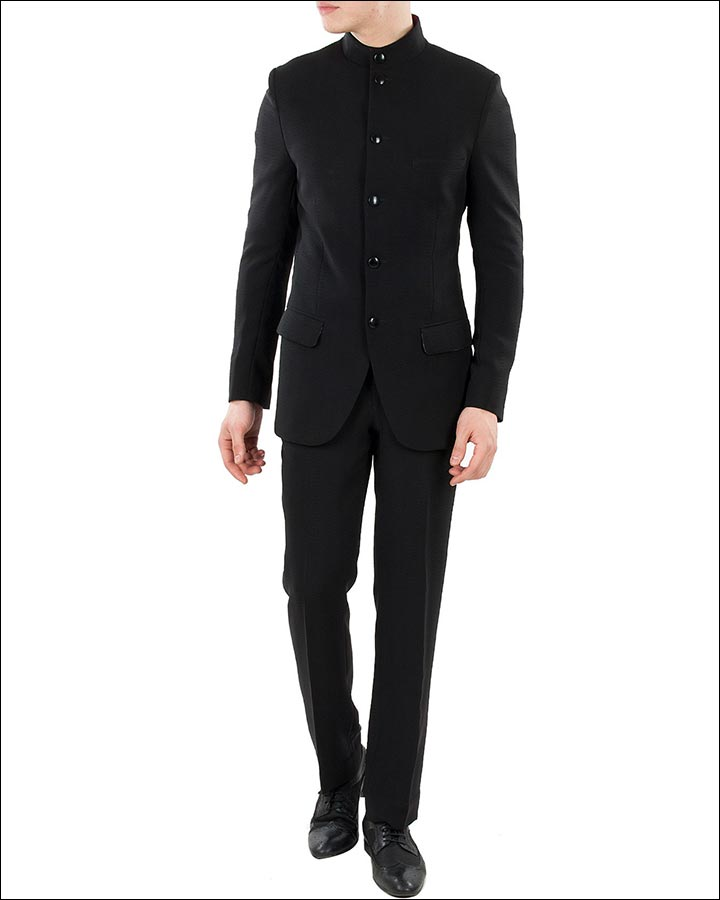 Black-Bandhgala-Suit-By-Ashish-N.-Soni-Indian Wedding Suits For Groom
