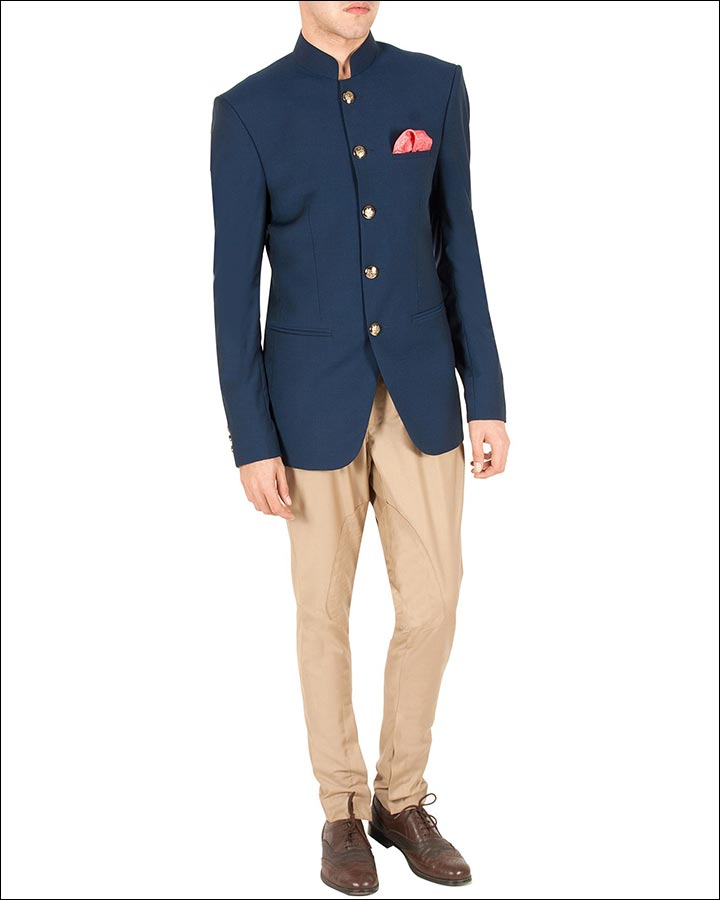 Blue-And-Beige-Jodhpuri-Suit-By-Sahil-Aneja-Indian Wedding Suits For Groom