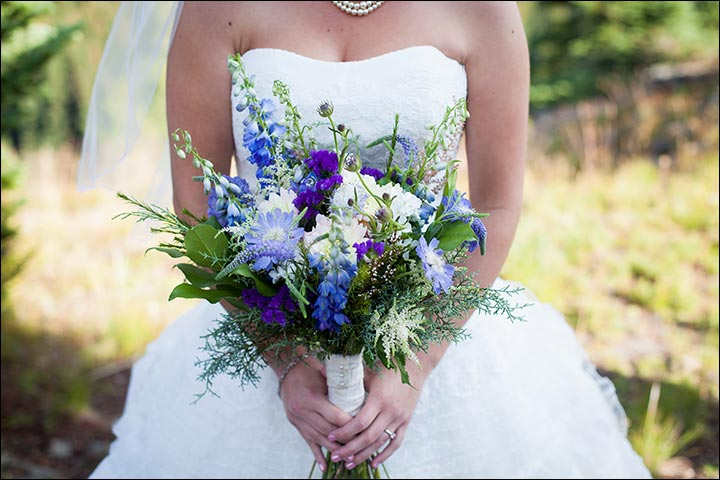 wildflower wedding bouquet bright blue and purple wildflower bouquet