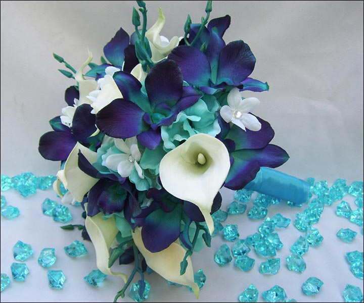 Turquoise Wedding Bouquets - CA Orchids With Turquoise Hydrangea And White Calla Lilies