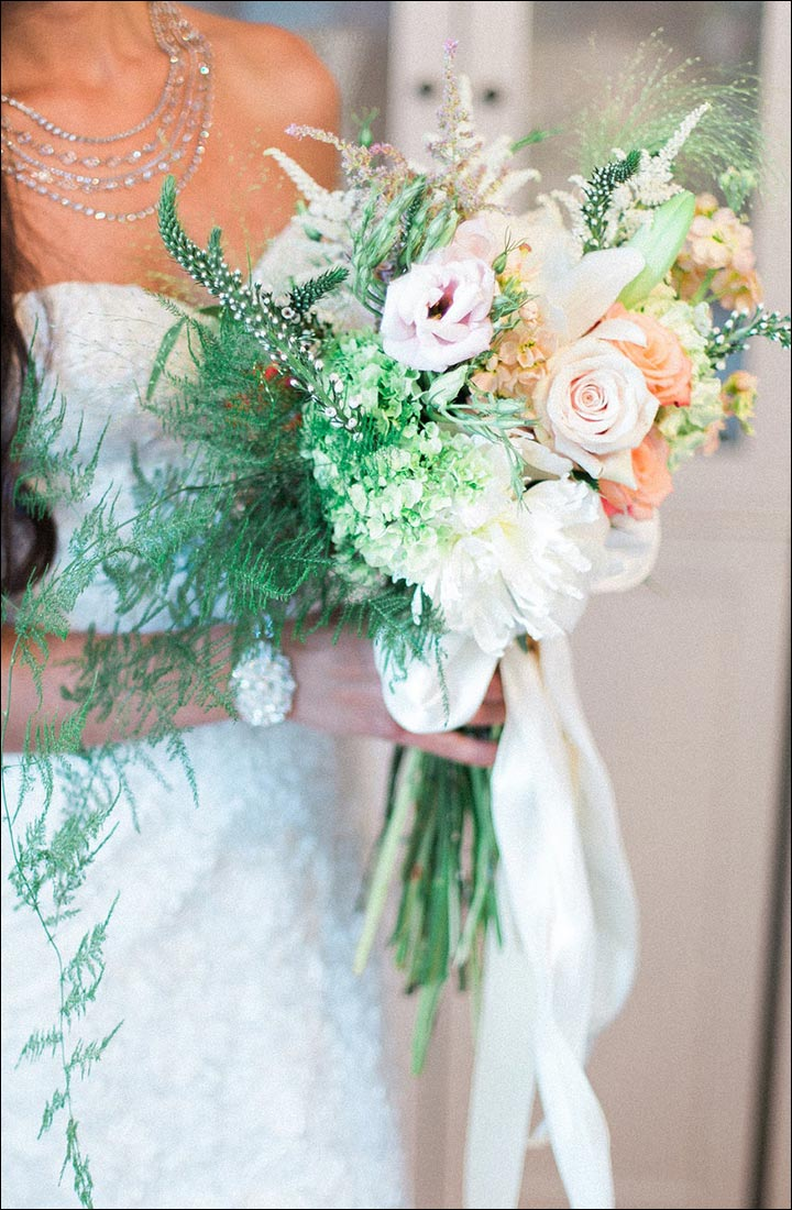 Wildflower Wedding Bouquet - Champagne Bridal Bouquet Of Veronica, Fern, Roses, Peonies And Dahlias