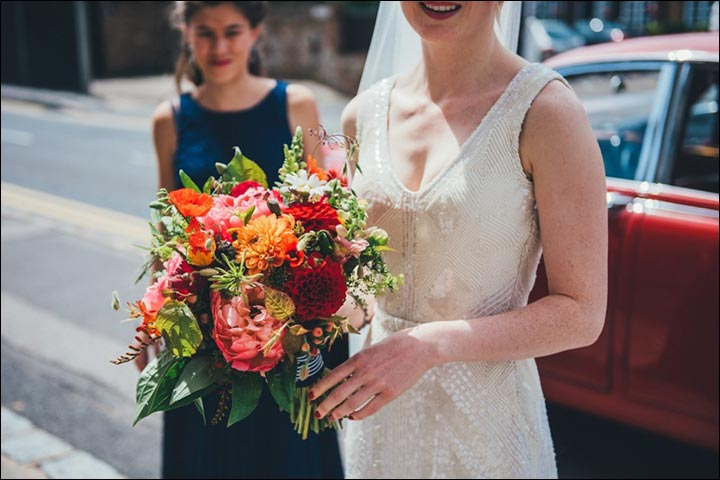 Wildflower Wedding Bouquet - Coral Peonies, Red And Orange Dahlias, Daisies