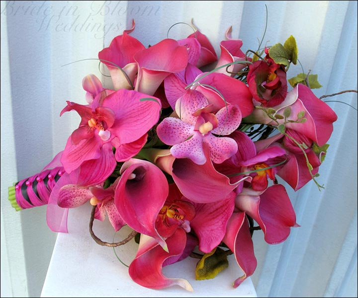 Hot Pink Calla Lily Fall Wedding Bouquets