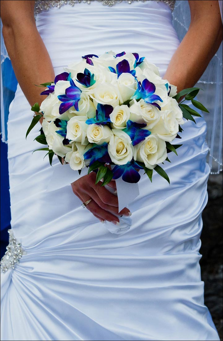 Turquoise Wedding Bouquets - Orchids And Roses With Leaves
