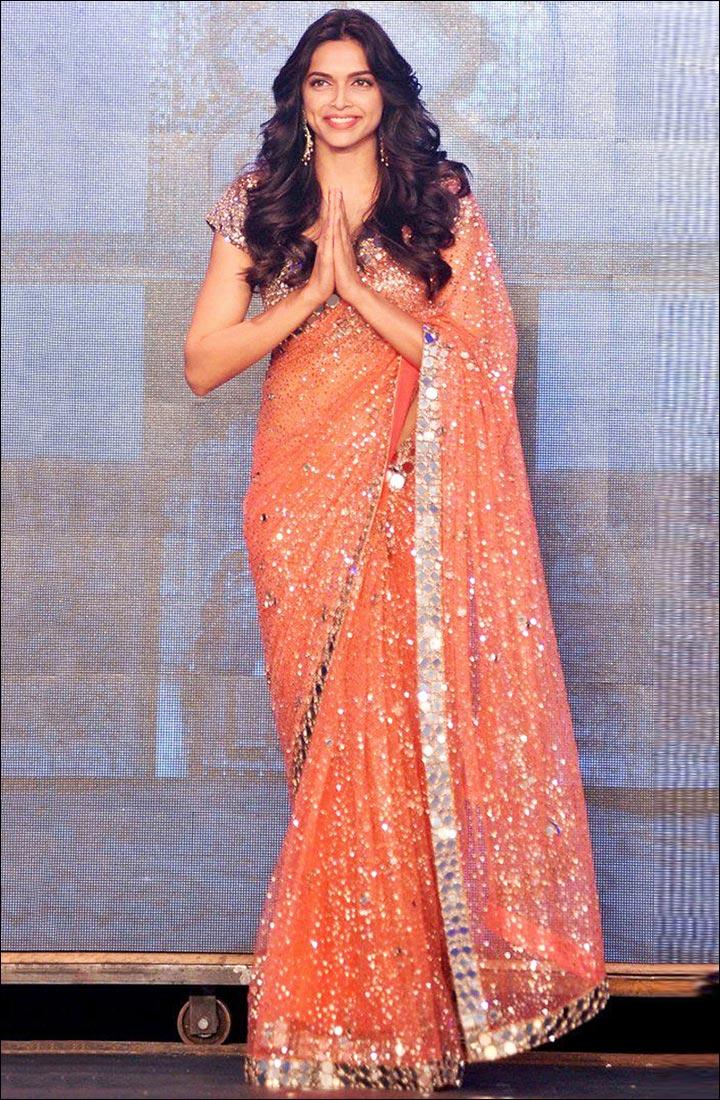 Peach Shimmery Saree By Manish Malhotra