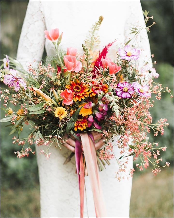 Wildflower Wedding Bouquet - Pink And Purple Wildflower Bouquet