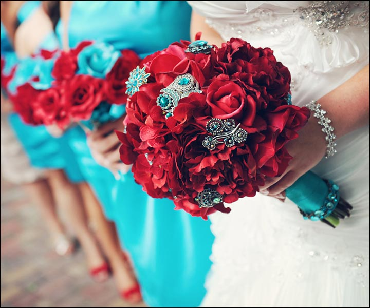 Turquoise And Red Wedding Ideas: 15 Turquoise Wedding Bouquets For Your D-Day