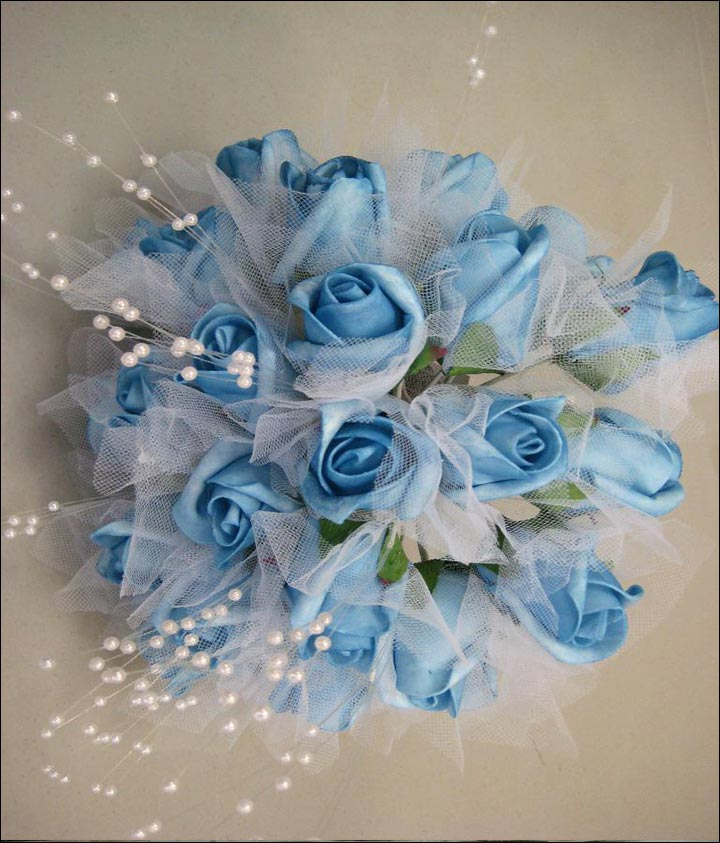 Turquoise Wedding Bouquets - Rose Buds And Pearl Bouquet