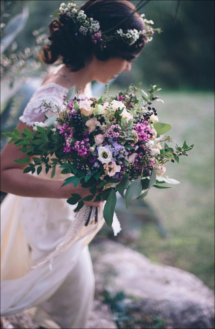 Wildflower Wedding Bouquet - Rustic Wildflower Bouquet With Leaves