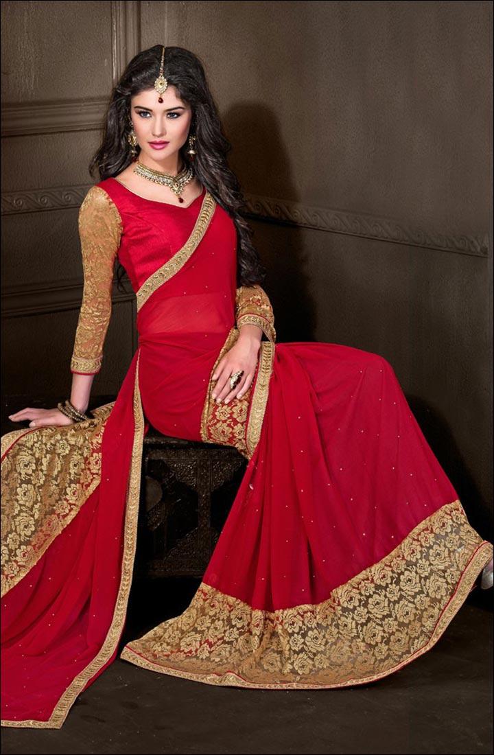 Super Net Crystal Red Designer Saree