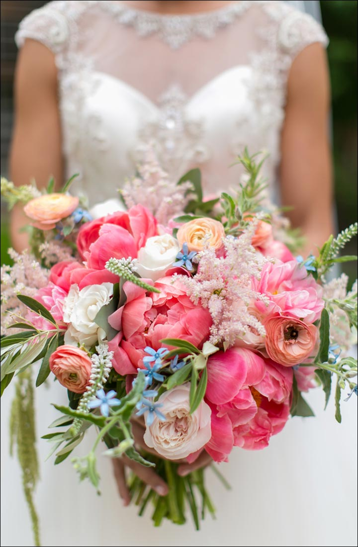 Textured Pink Peony Wildflower Bridal Bouquet