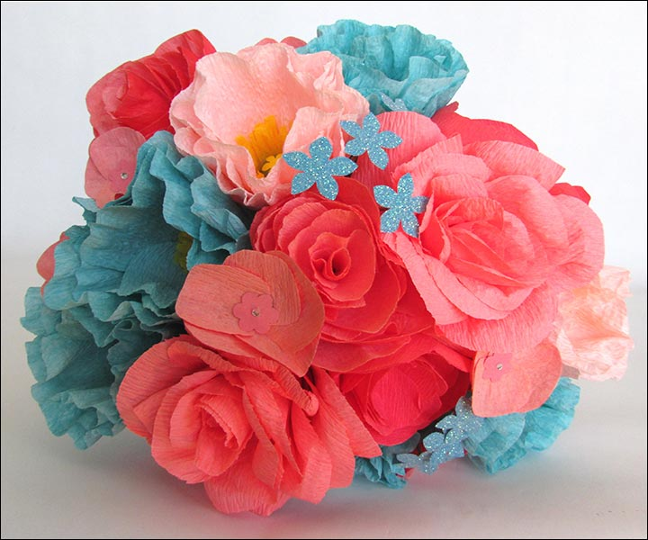 Turquoise Wedding Bouquets - Turquoise And Coral Paper Flower Bouquet