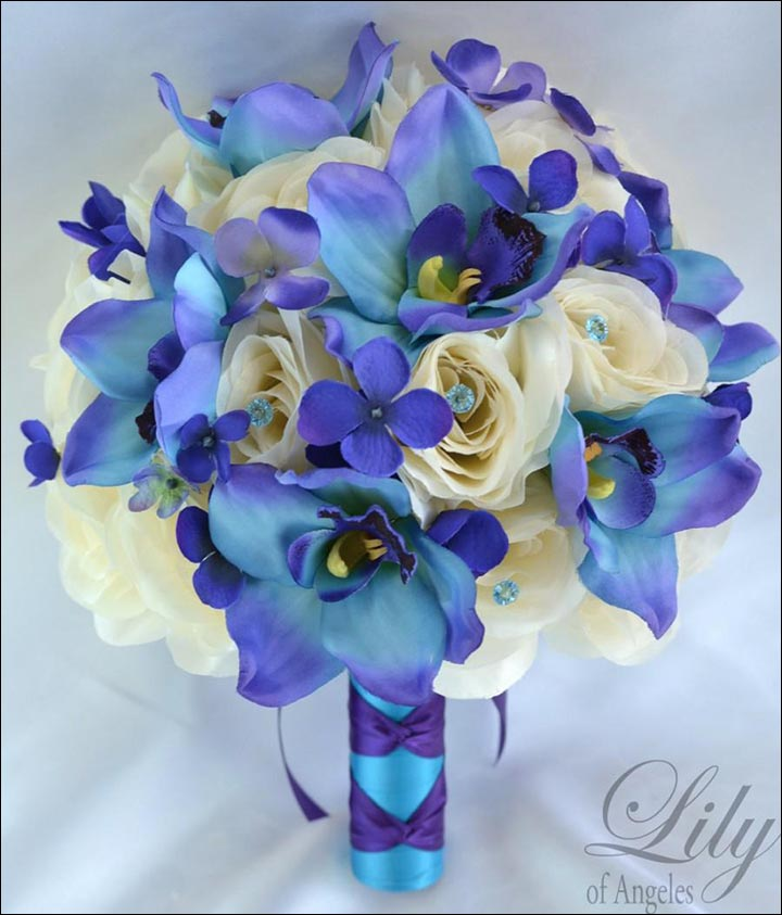 Turquoise Wedding Bouquets - Turquoise Orchids With Ivory Open Roses And Purple Hydrangea