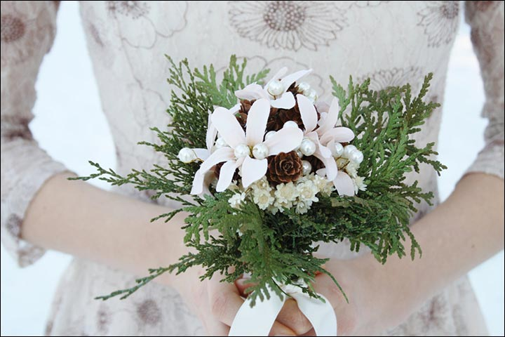 Wildflower Wedding Bouquet - White Flowers Natural Wedding Bouquet With Cedar Pinecone
