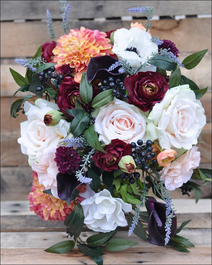 Wildflower Wedding Bouquet - Wildflower Bouquet Of Dahlias, Lavender, Roses With Berries And Eggplant Callas
