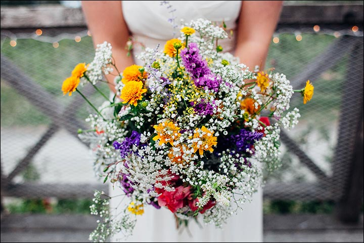 Wildflower Wedding Bouquet - Wildflowers With Shades Of Yellow And Purple