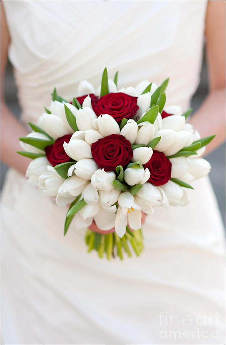 Red Rose Wedding Bouquets - A Pop Of Red