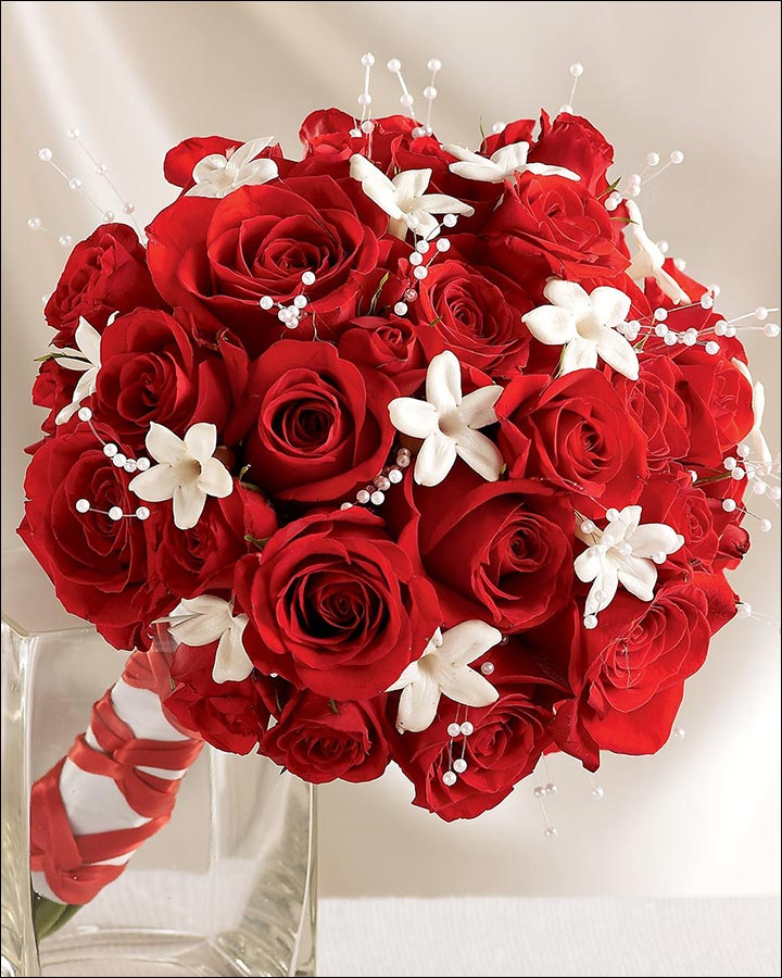 Red Rose Wedding Bouquets - A Touch Of White