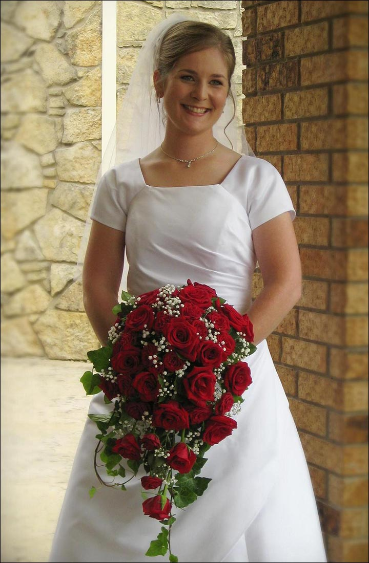 Red Rose Wedding Bouquets - Cascading Bouquet