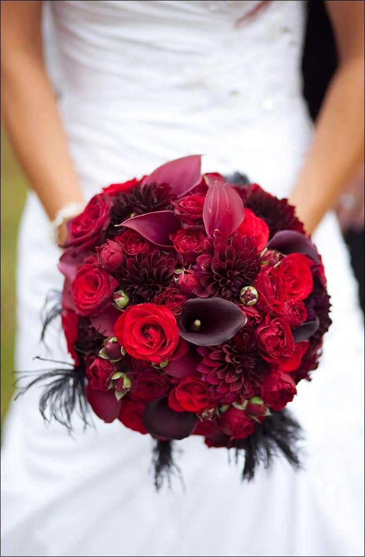Red Rose Wedding Bouquets - Different Shades Of Red