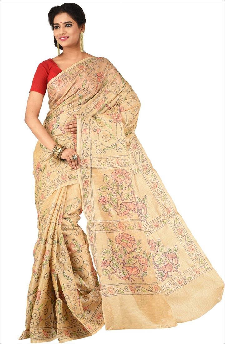 Indian Traditional Sarees - Kantha Stitch Saree
