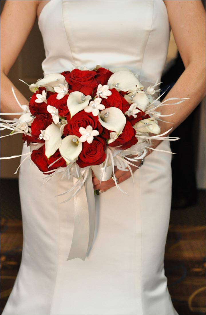 Red Rose Wedding Bouquets - Lilies And Roses