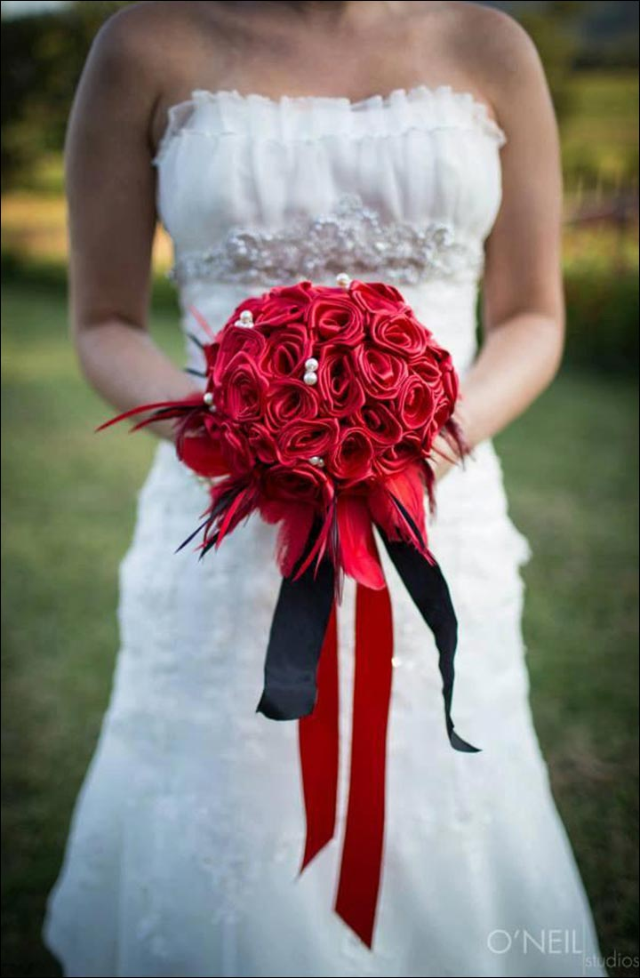Red Rose Wedding Bouquets Of Feathers And Ribbons