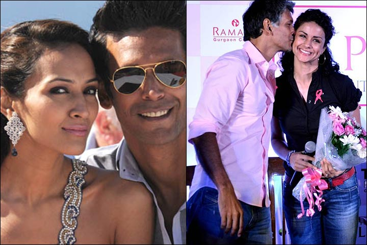 Milind Soman's Marriage - Milind Soman With Dipannita Sharma And Inset With Gul Panag