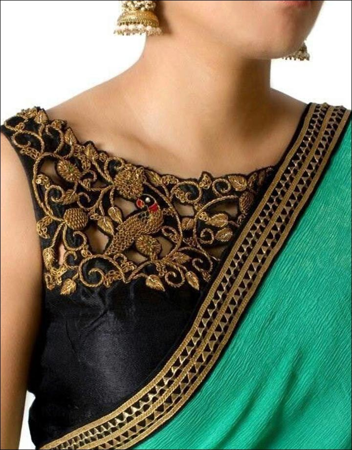 blouse front neck designs - The-Brocade-Style-Blouse-Front -Neck-Designs