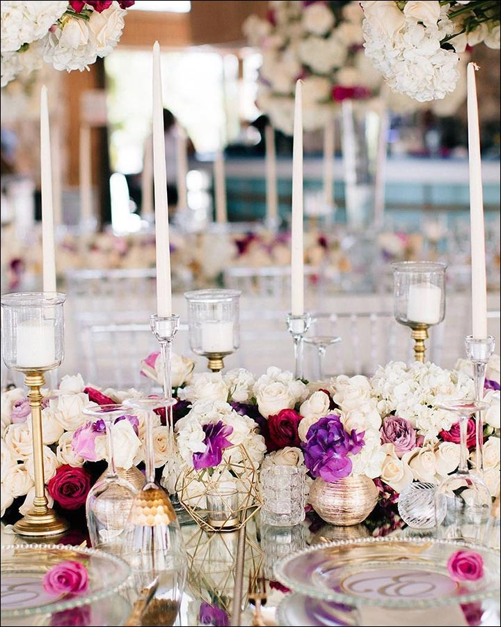 Tapered-Candles-And-Flowers-Centerpiece-great wedding centerpieces
