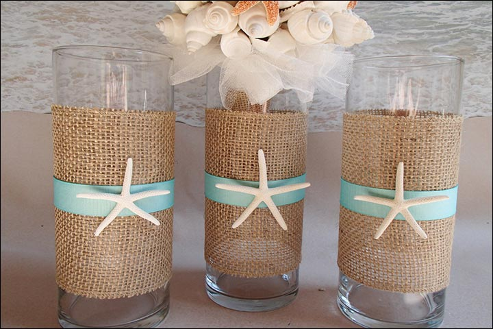 Burlap-And-Seashell-Tumbler-diy-wedding-centerpieces