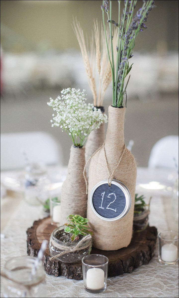 Burlap-Vase-On-A-Wooden-Base--diy-wedding-centerpieces